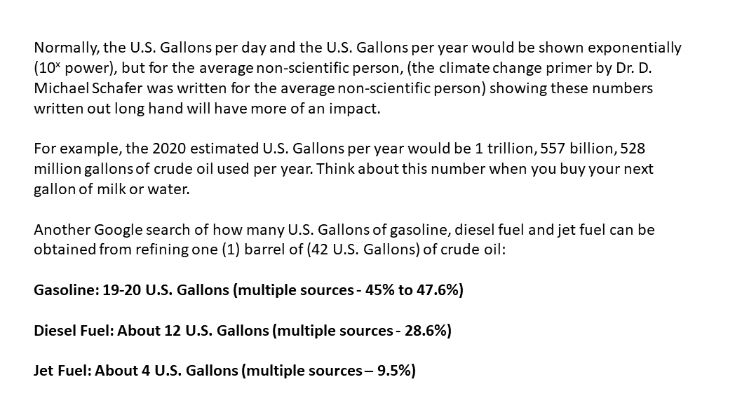 Normally, the U.S. Gallons per day and the U.S. Gallons per year would be shown exponentially (10x power), but for the average non-scientific person, (the climate change primer by Dr. D. Michael Schafer was written for the average non-scientific person) showing these numbers written out long hand will have more of an impact.